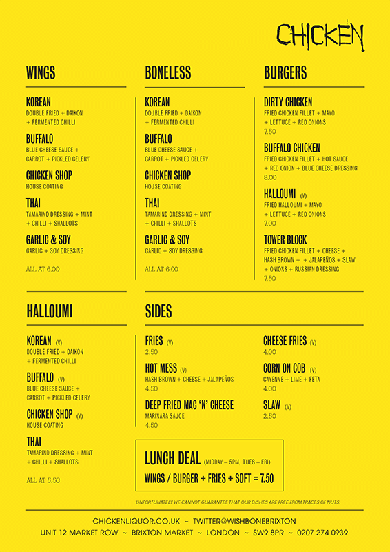chicken liquor menu brixton