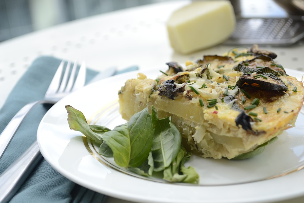 spanish omelette, omelette layers, omelette portion, spanish tortilla, tortilla fresh herbs,