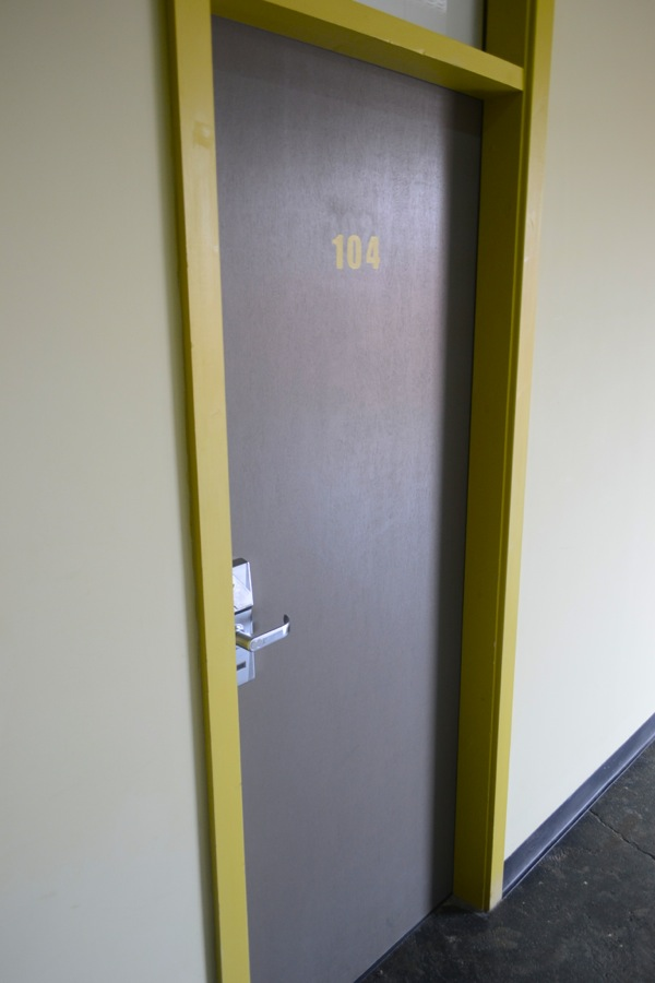 bright hotel room door, victoria warehouse room manchester
