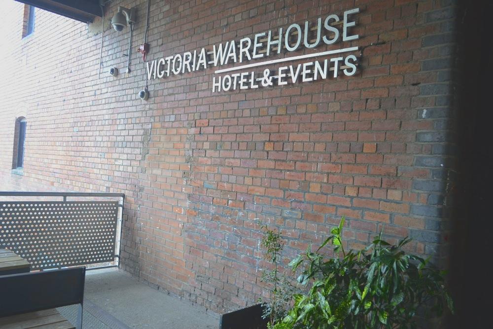 victoria warehouse sign entrance