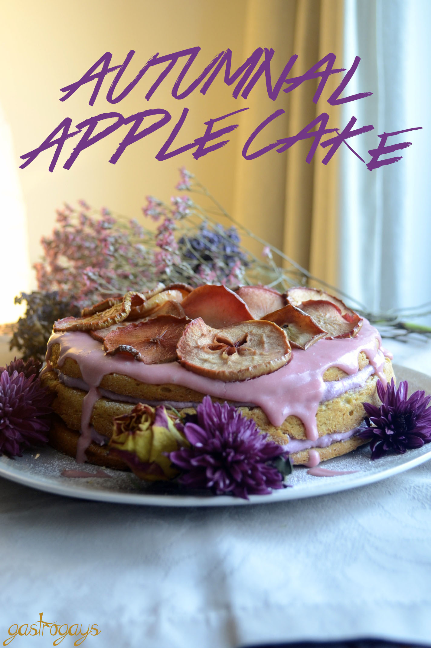 autumnal apple cake, floral cake, apple slice cake, apple cake, pink icing, purple buttercream
