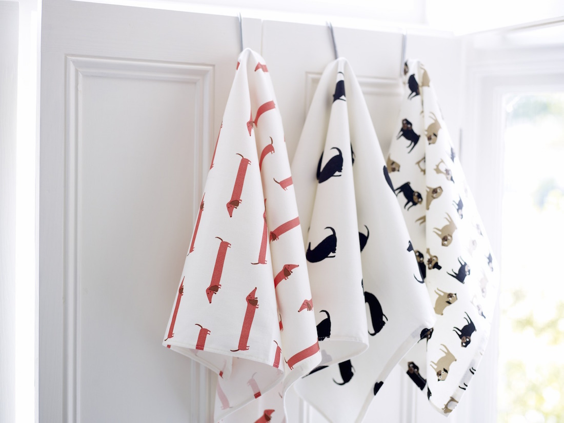 Individual dog print tea towels, by Fenella Smith available at various stockists and online