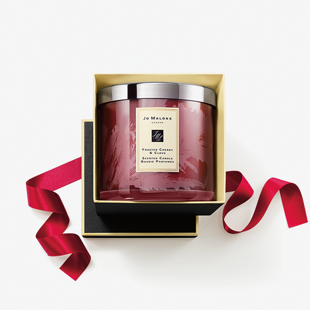 Frosted cherry and clove luxury candle, £120