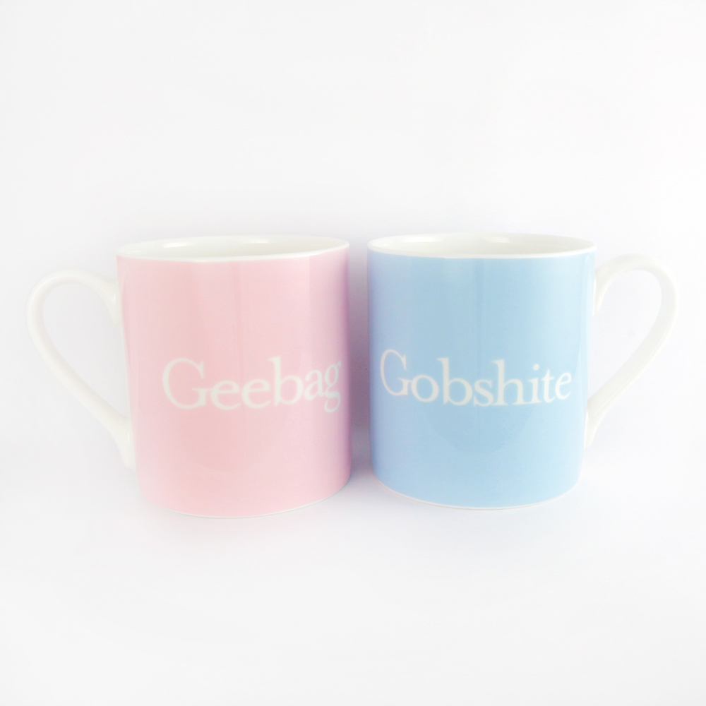 'Geebag' and 'Gobshite' mugs,