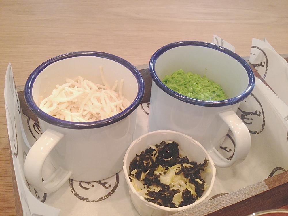 mushy peas, celeriac slaw, sprout seaweed
