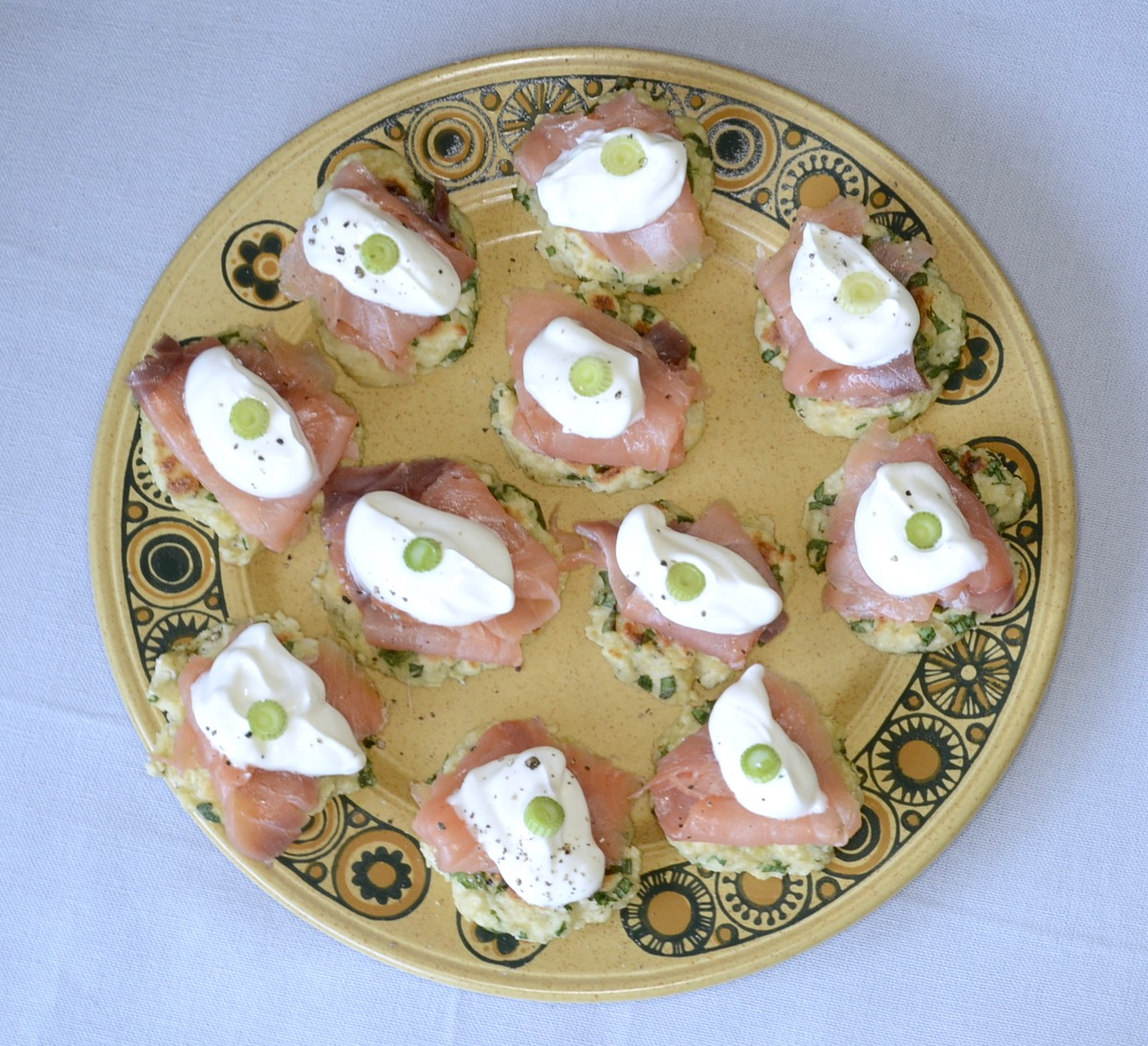 plate potato blinis salmon