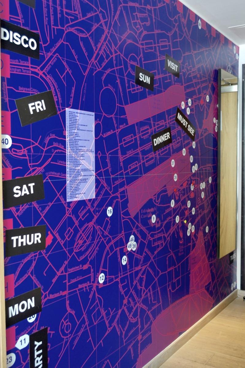 hotel edinburgh, grassmarket, grassmarket hotel, grassmarket edinburgh, grassmarket bedroom wall, interactive map edinburgh, map bedroom hotel, edinburgh map bedroom