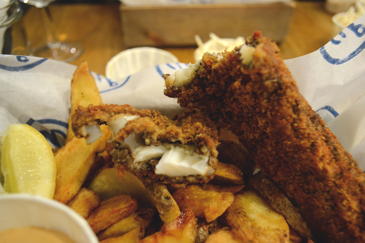 crisp panko breaded fish bia mara