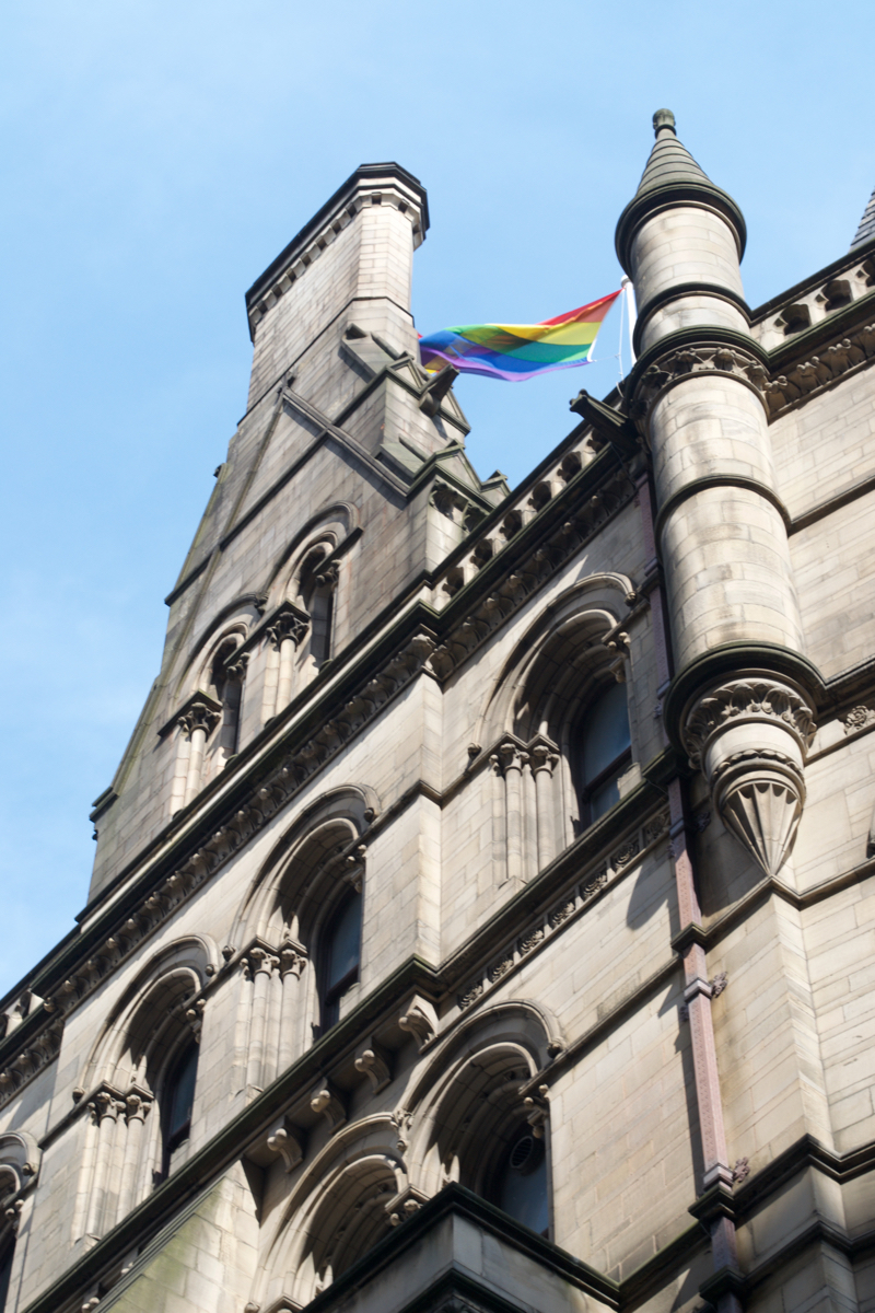 pride flag town hall manchester