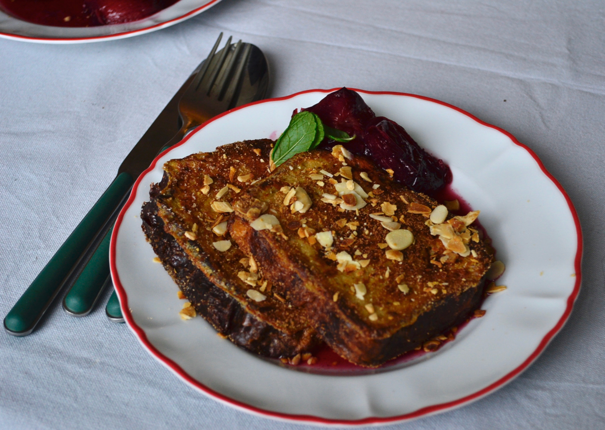 best french toast plums plate