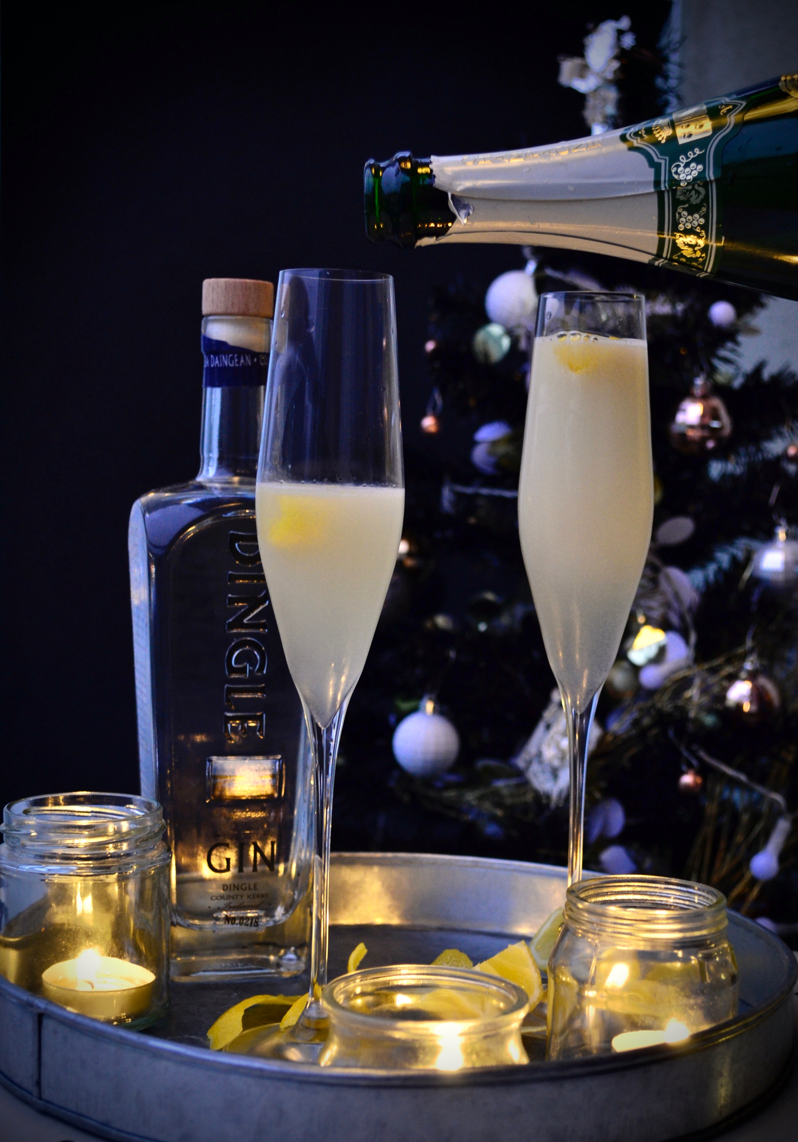 grower Champagne, French 75 homemade, French75 recipe, Champagne gin cocktail, champagne lemon cocktail, gin lemon cocktail, gin champagne lemon,