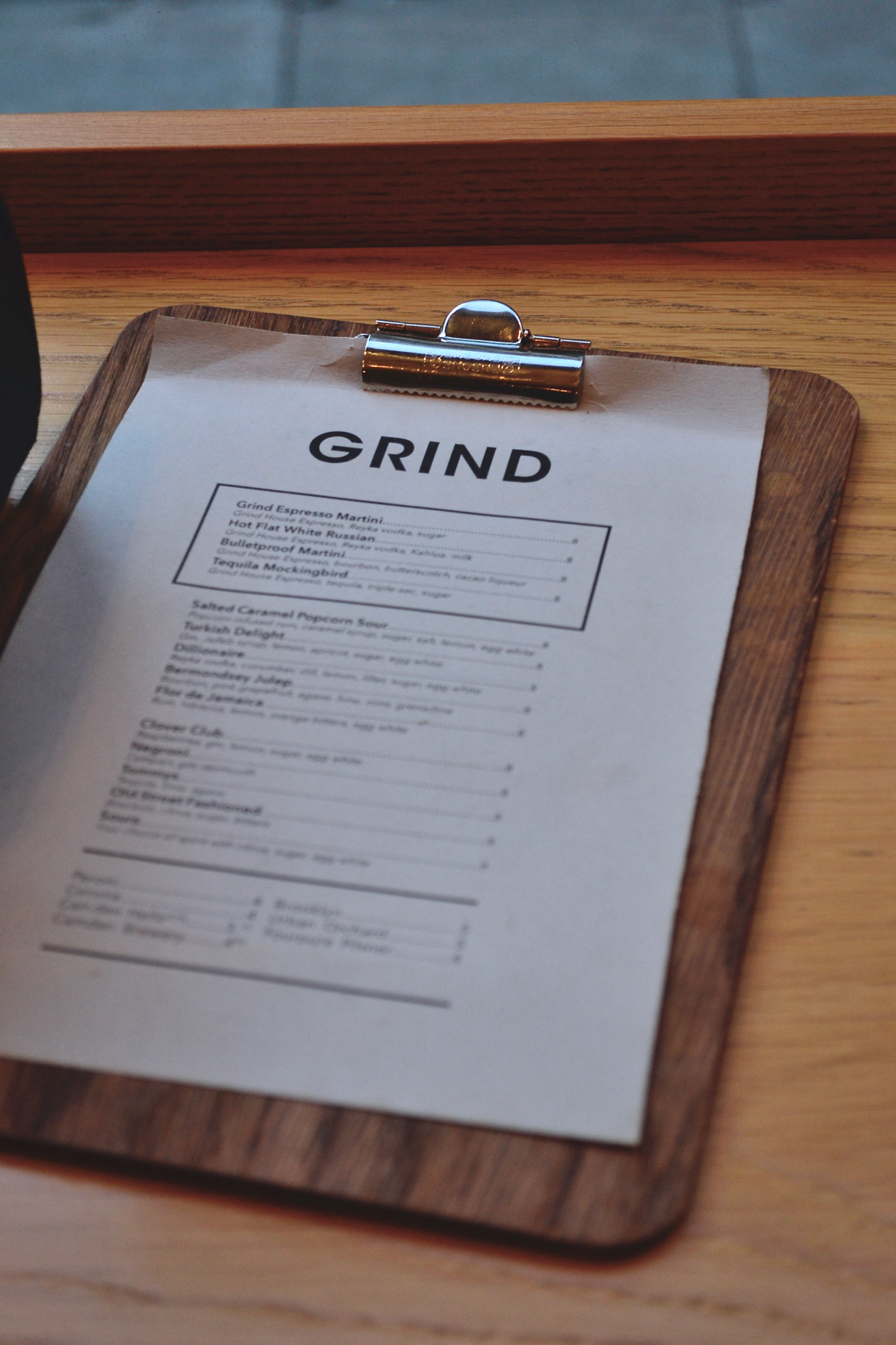 Grind wooden menu