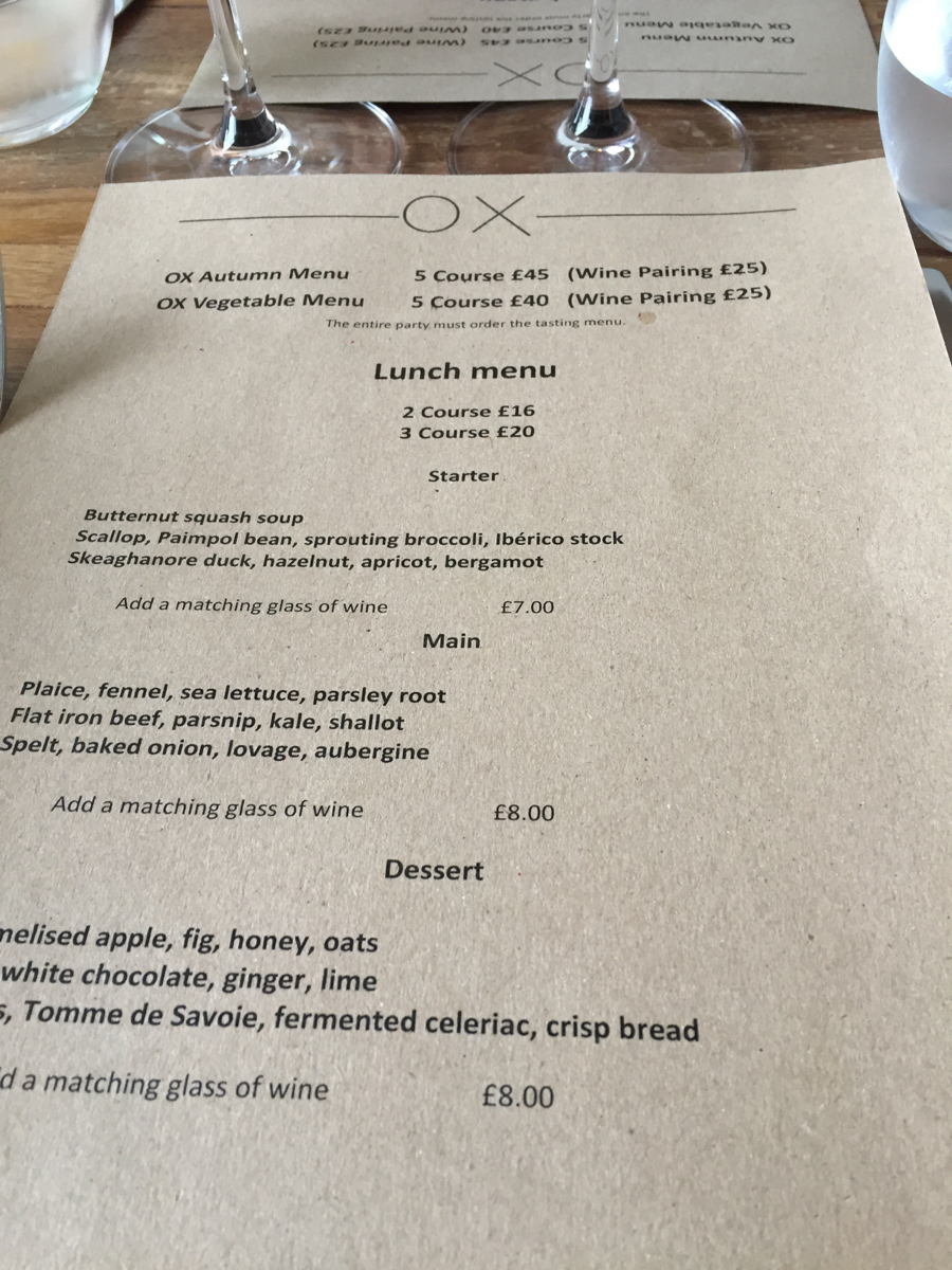 Ox Lunch Menu
