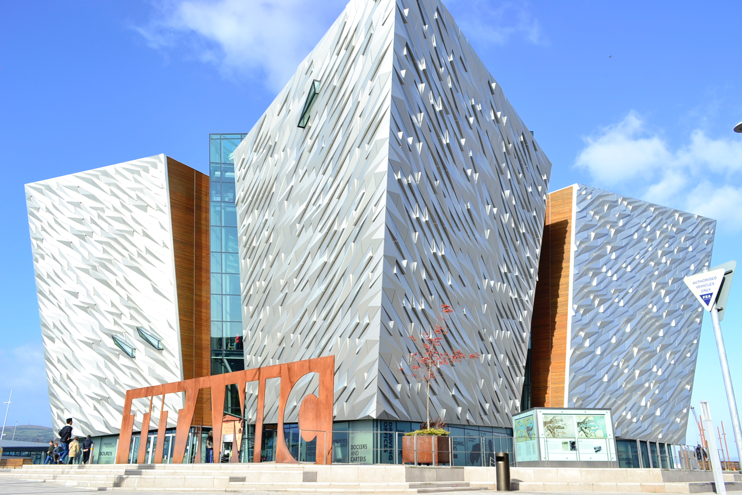 Titanic Belfast exterior clear day blue sky