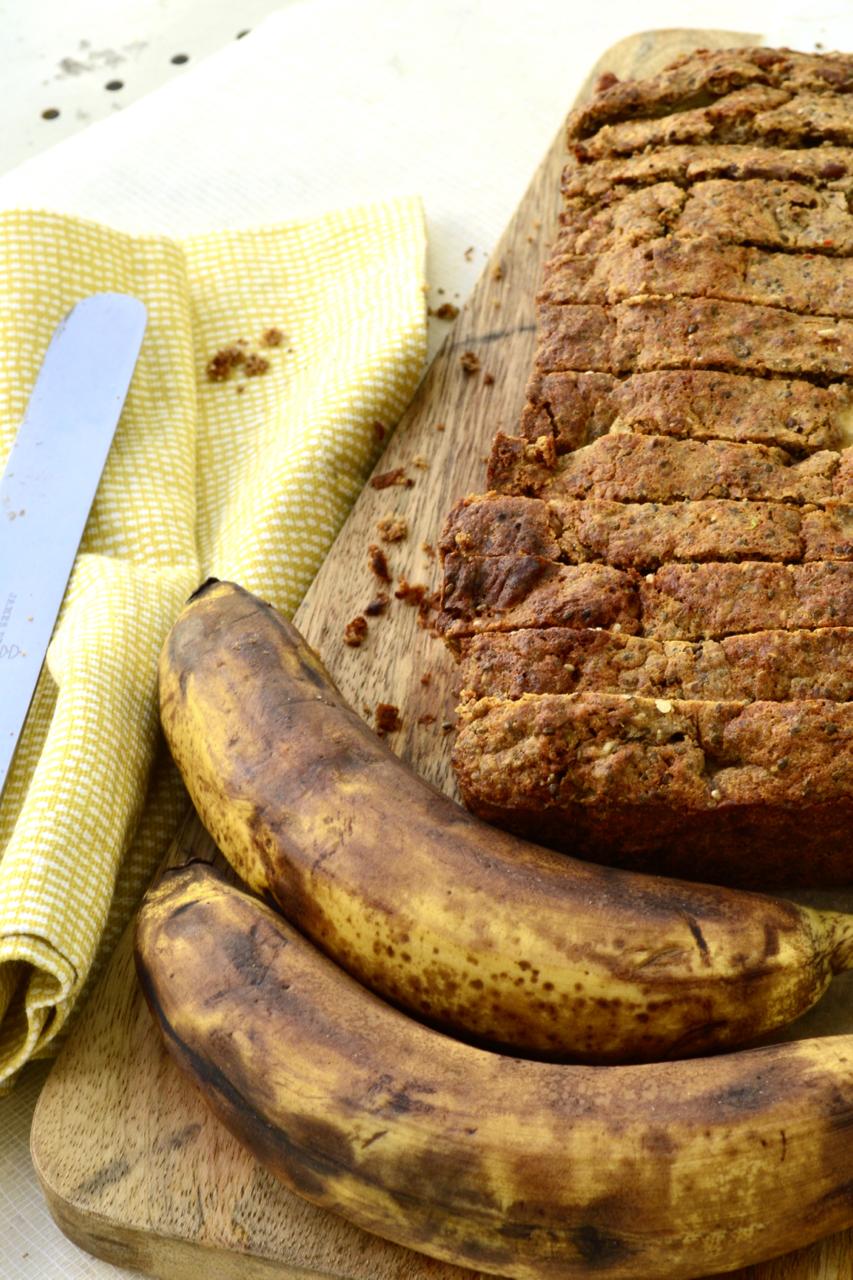 Alternate sliced chia bia banana bread board