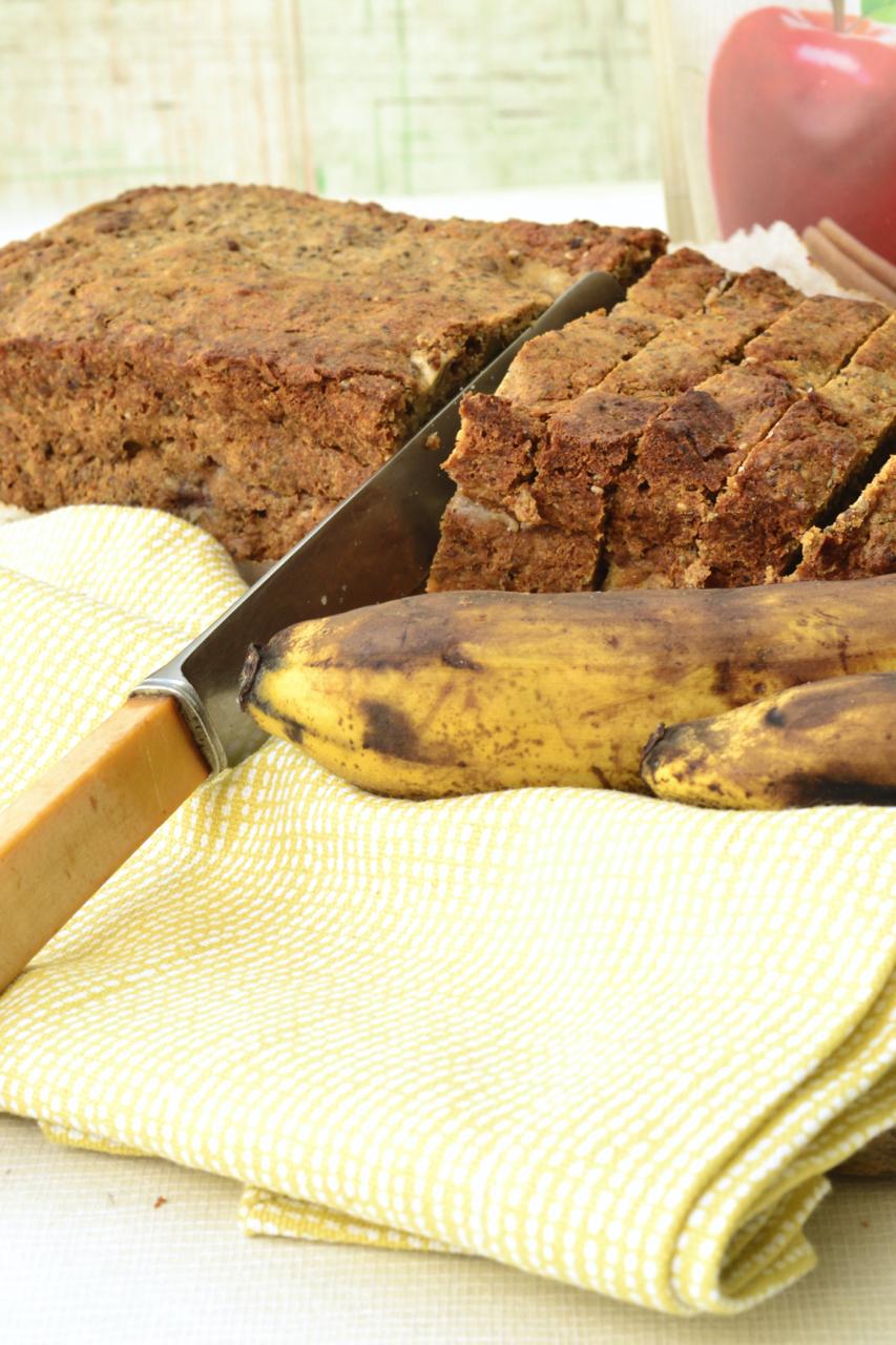 Yellow spotted napkin chia bia banana bread