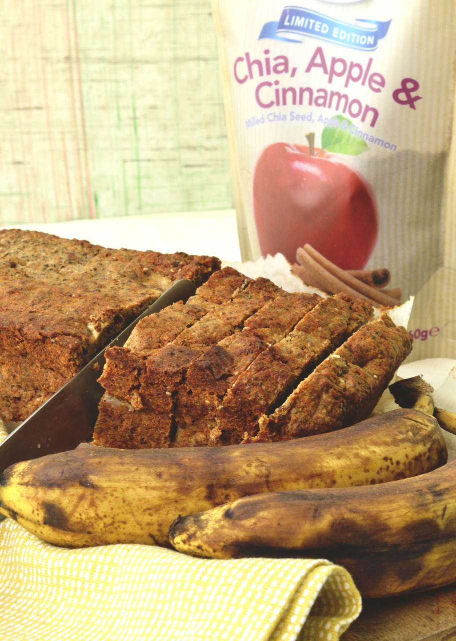 side half-sliced banana bread chia bia