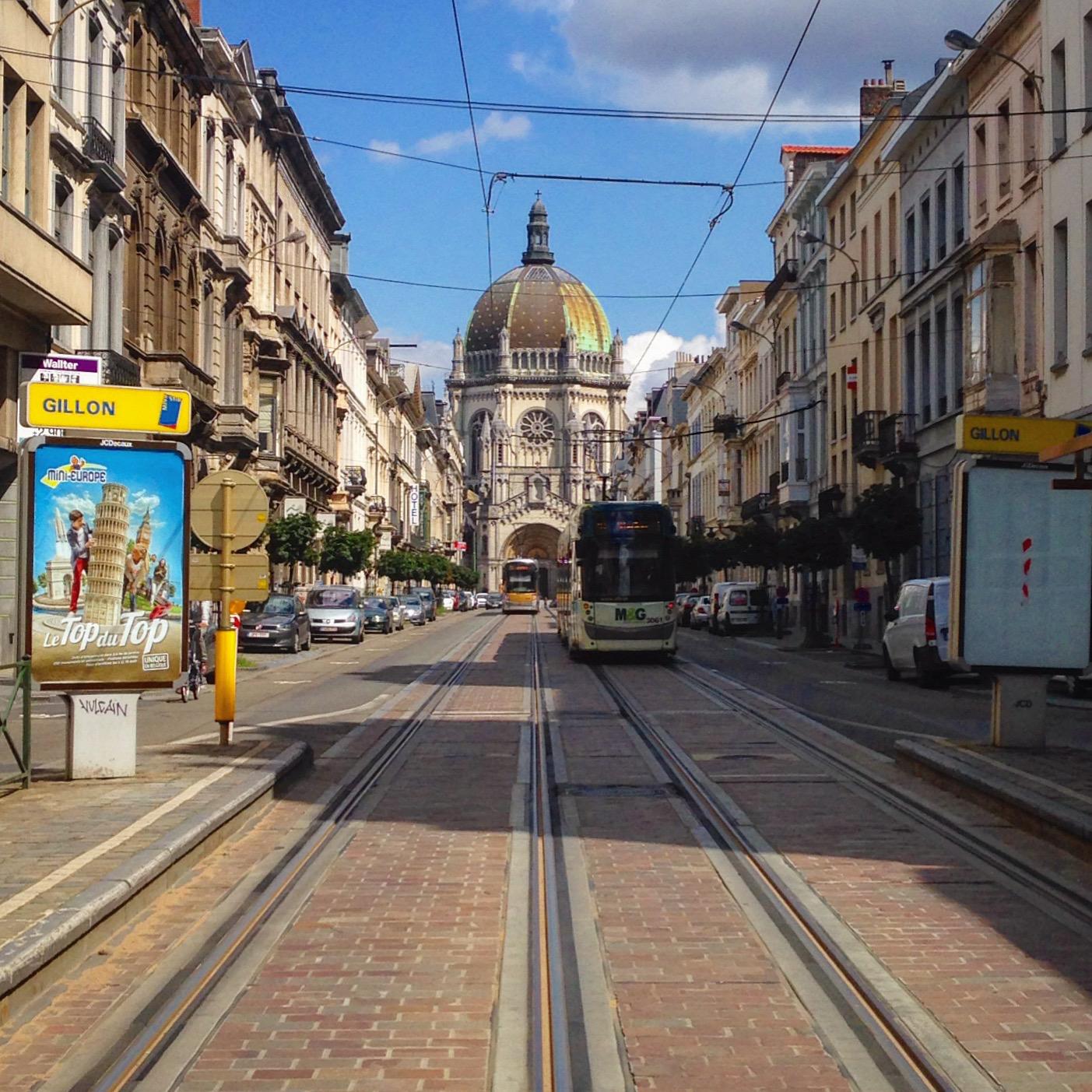 tram stop brussels centre city