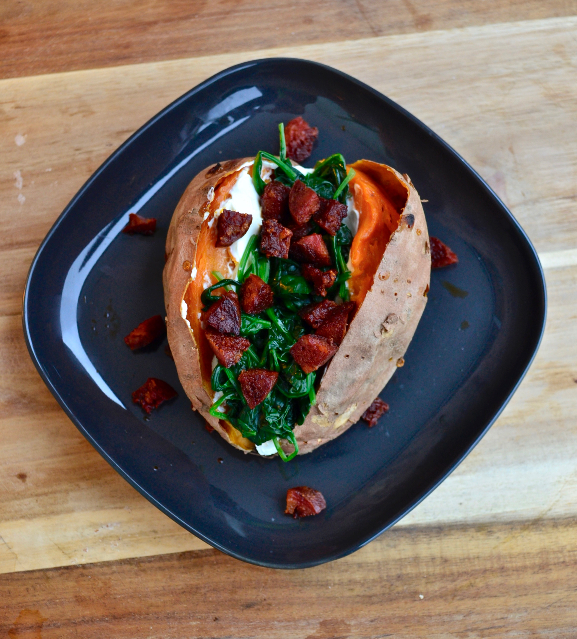 gastrogays recipe sweet potato spinach chorizo high overhead