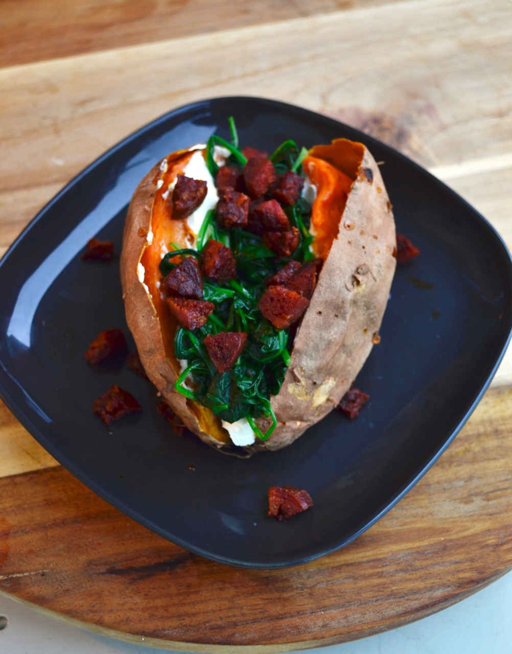 gastrogays sweet potato spinach chorizo recipe mid-high