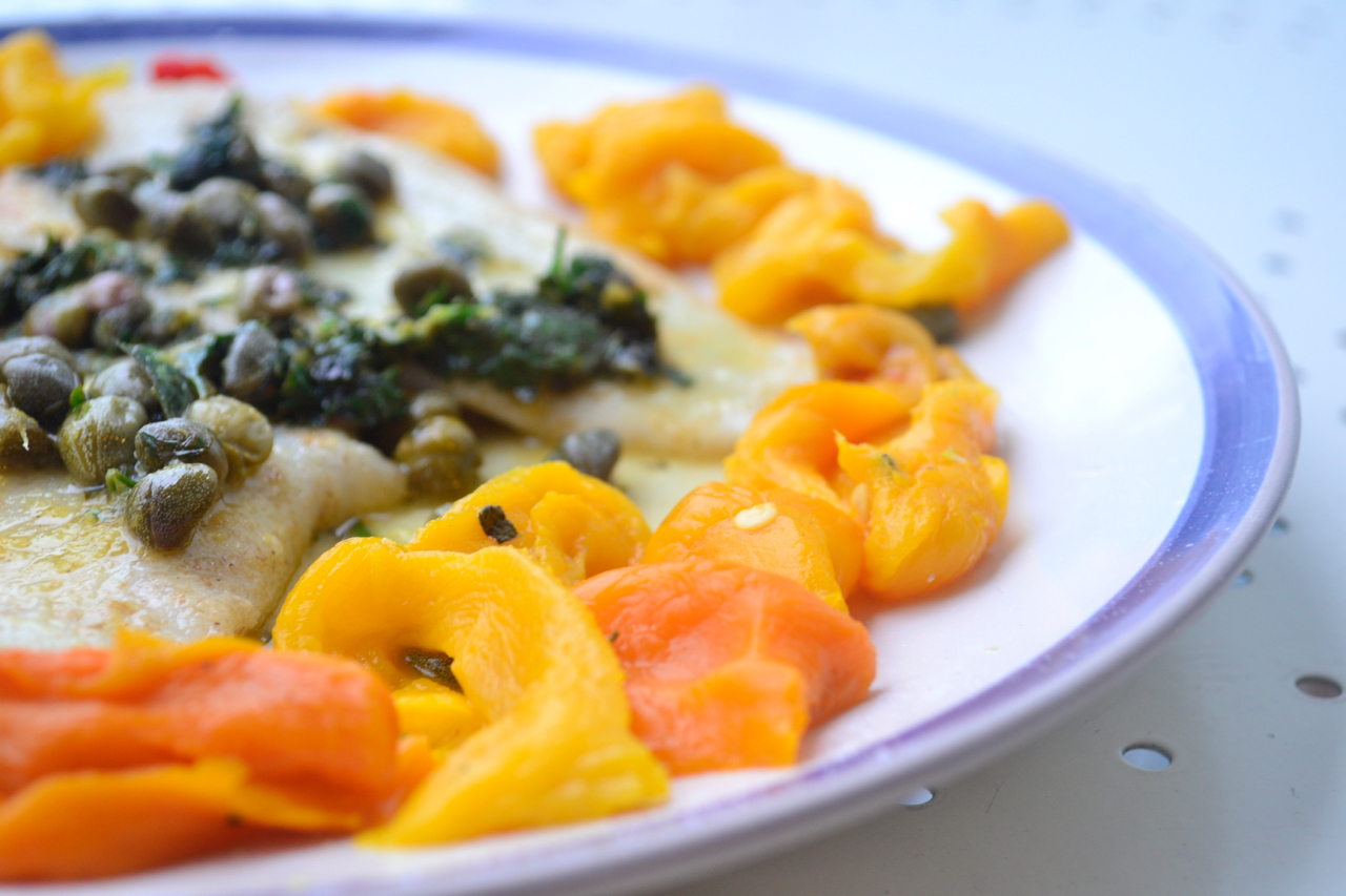 lemon sole capers close-up roasted peppers gastrogays