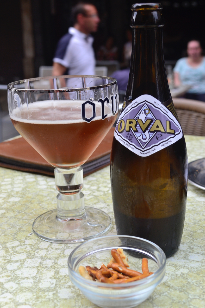 Orval bottle glass pretzels le cirio beer bar brussels gastrogays