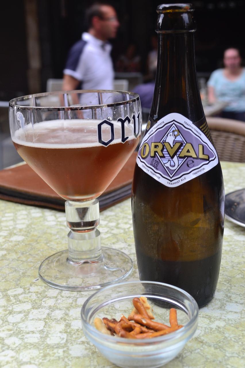 Orval bottle glass pretzels le cirio beer bar brussels gastrogays