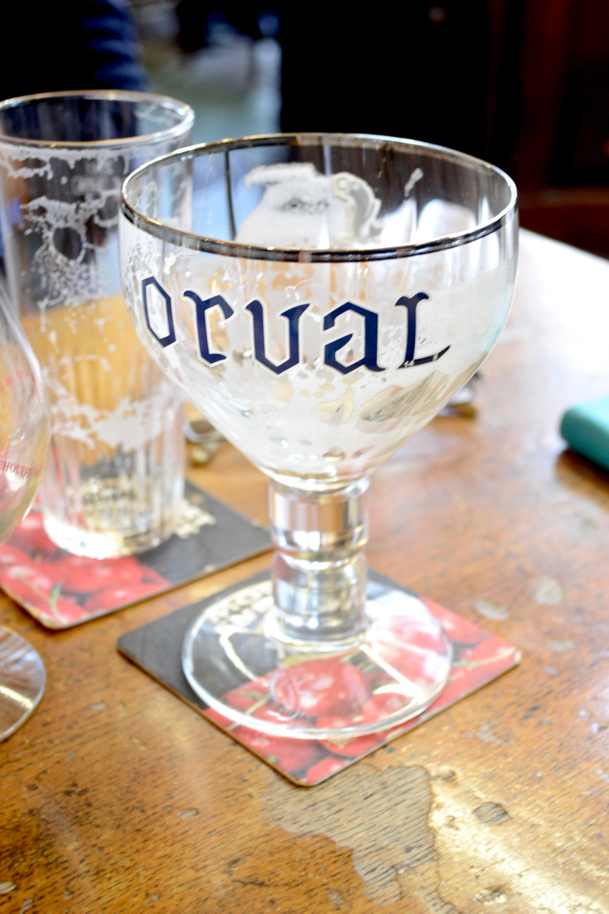 empty orval beer glass mort subite bar brussels