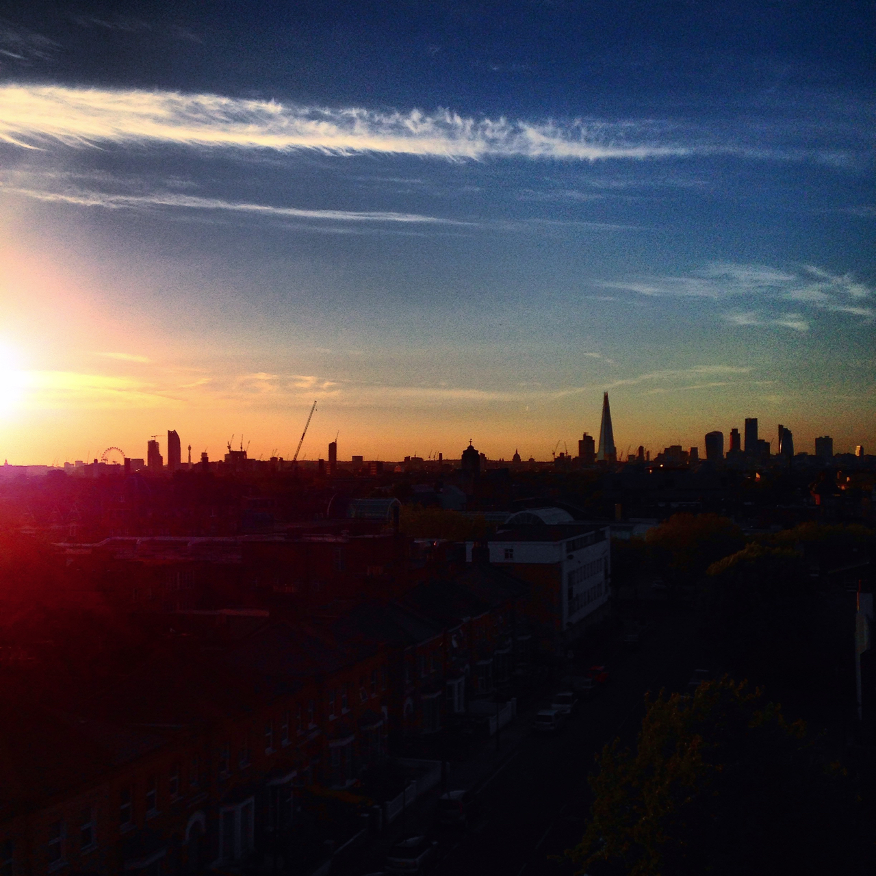 Peckham sunset skyline gastrogays
