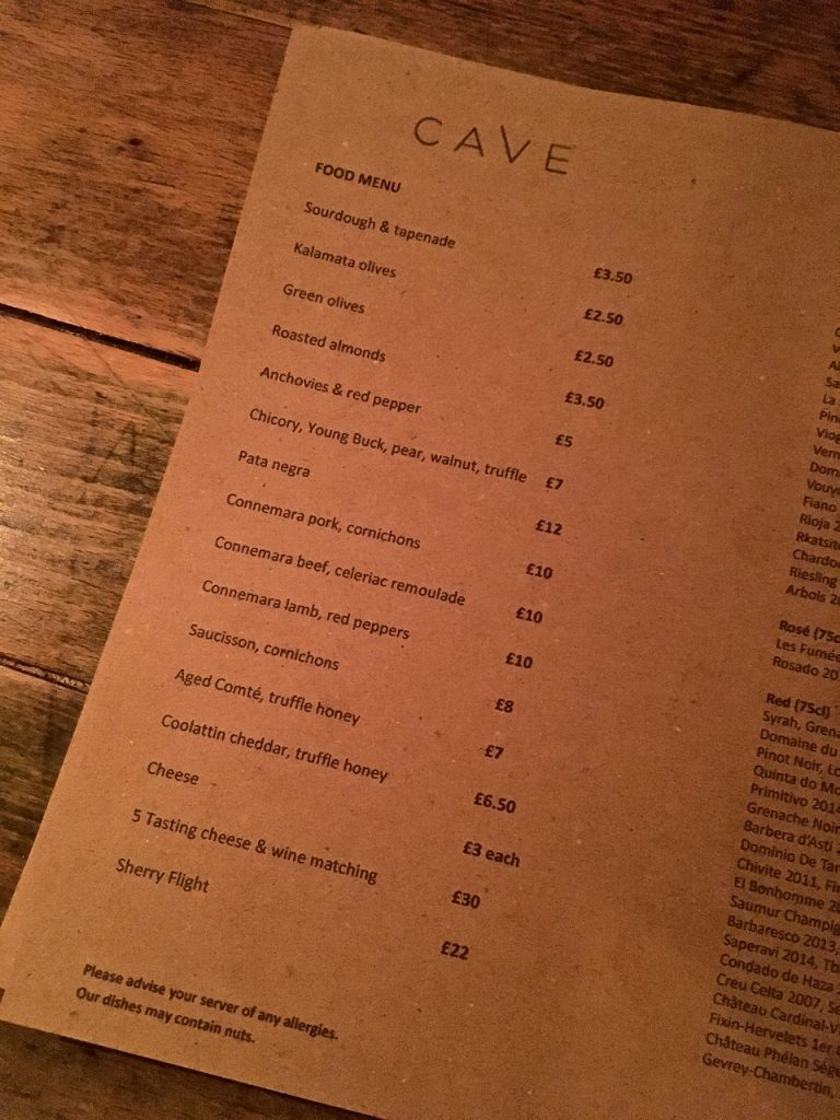 Ox Cave food menu belfast gastrogays