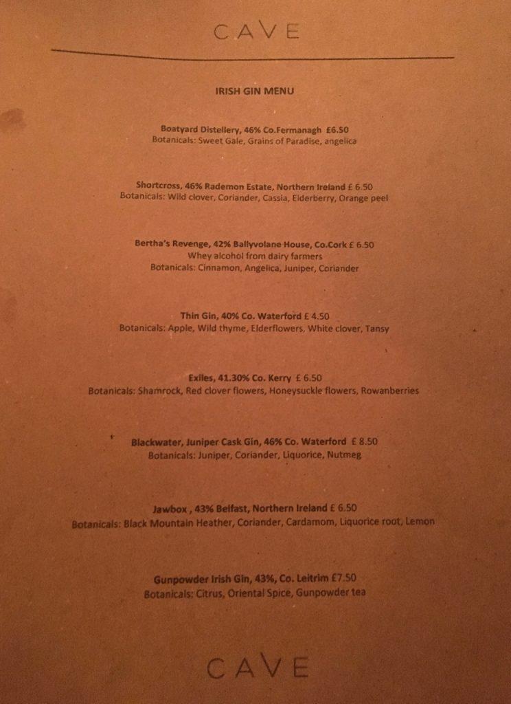 irish gin menu cave ox belfast gastrogays