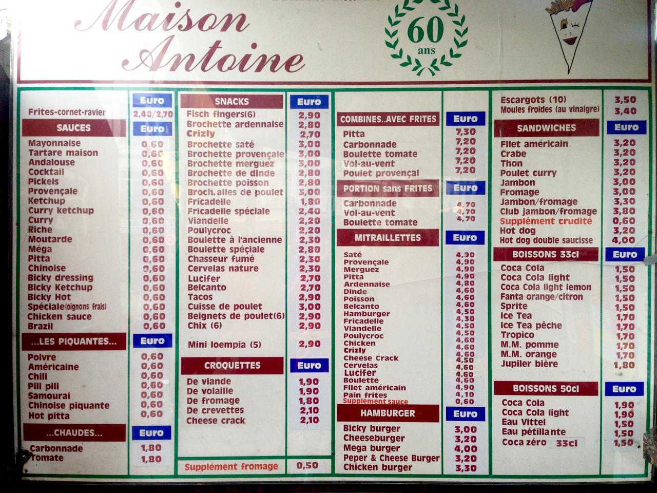 maison antoine menu frites brussels gastrogays