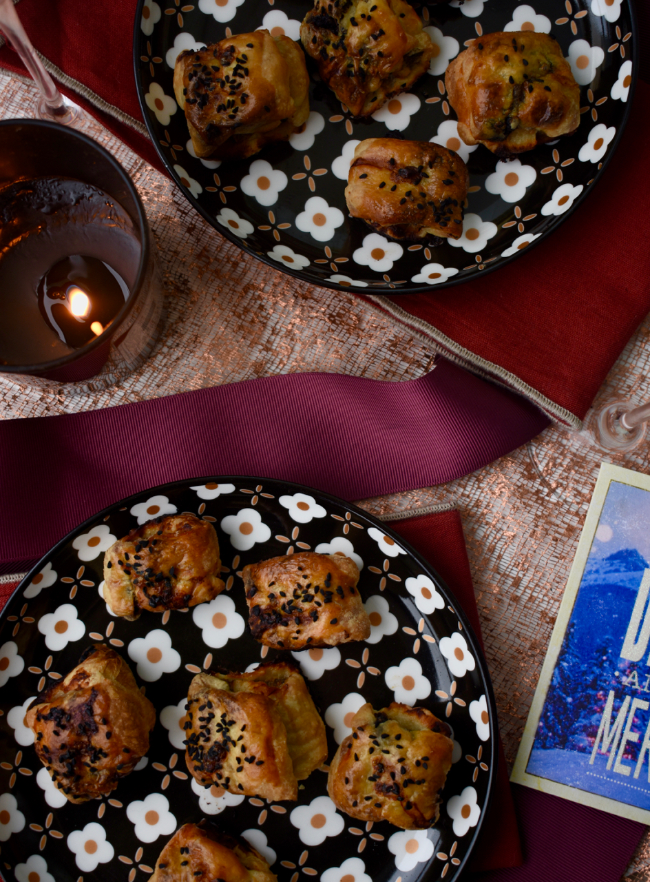 overhead christmas setting black pudding rolls gastrogays