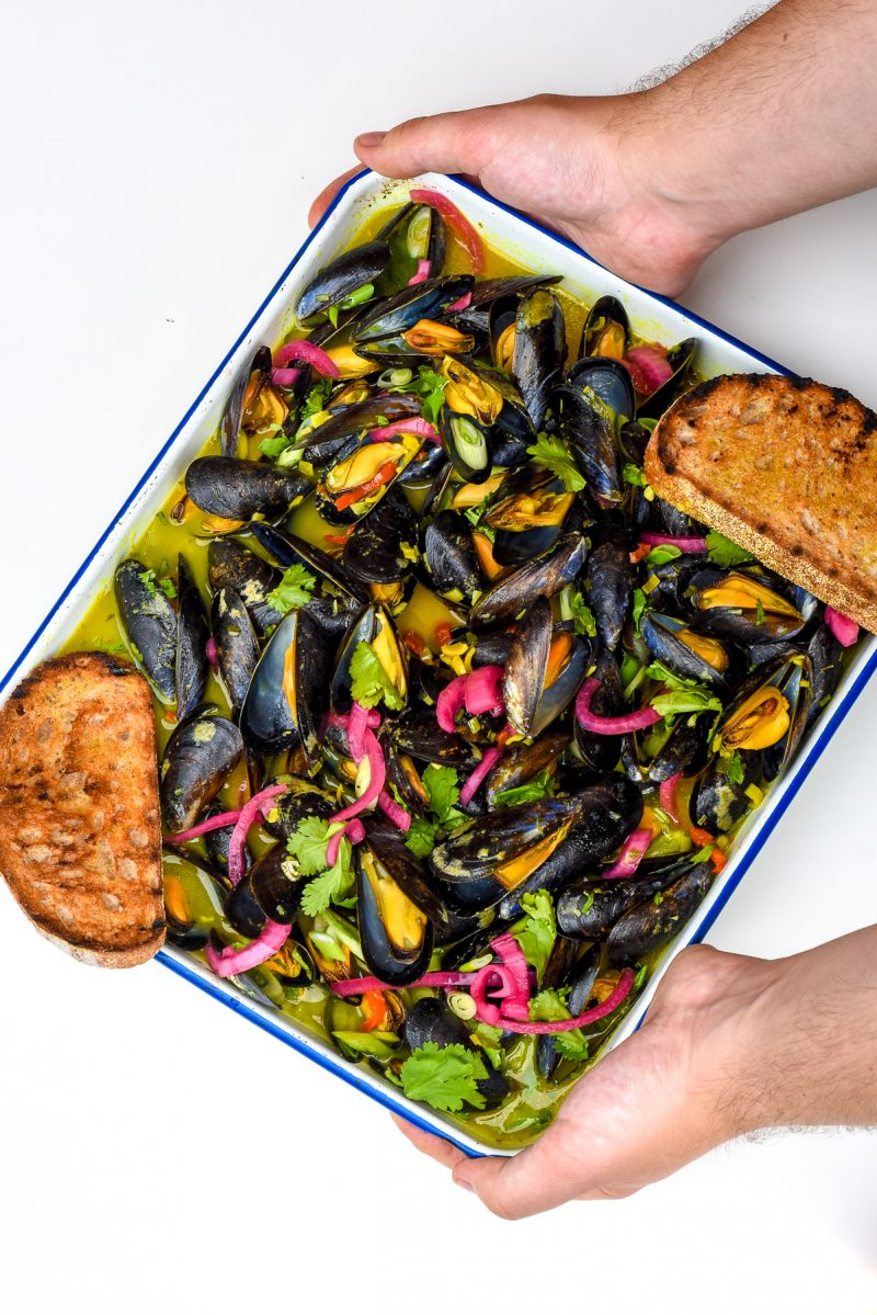 Mussels in a chilli, lemongrass and ginger broth